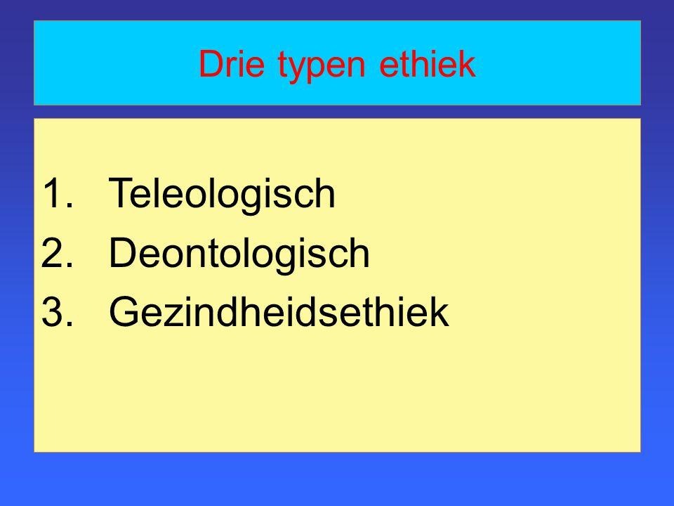 Drie typen ethiek Teleologisch Deontologisch Gezindheidsethiek