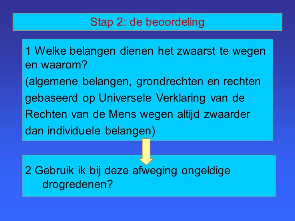 Stap 2: de beoordeling 1 Welke belangen dienen het zwaarst te wegen en waarom (algemene belangen, grondrechten en rechten.