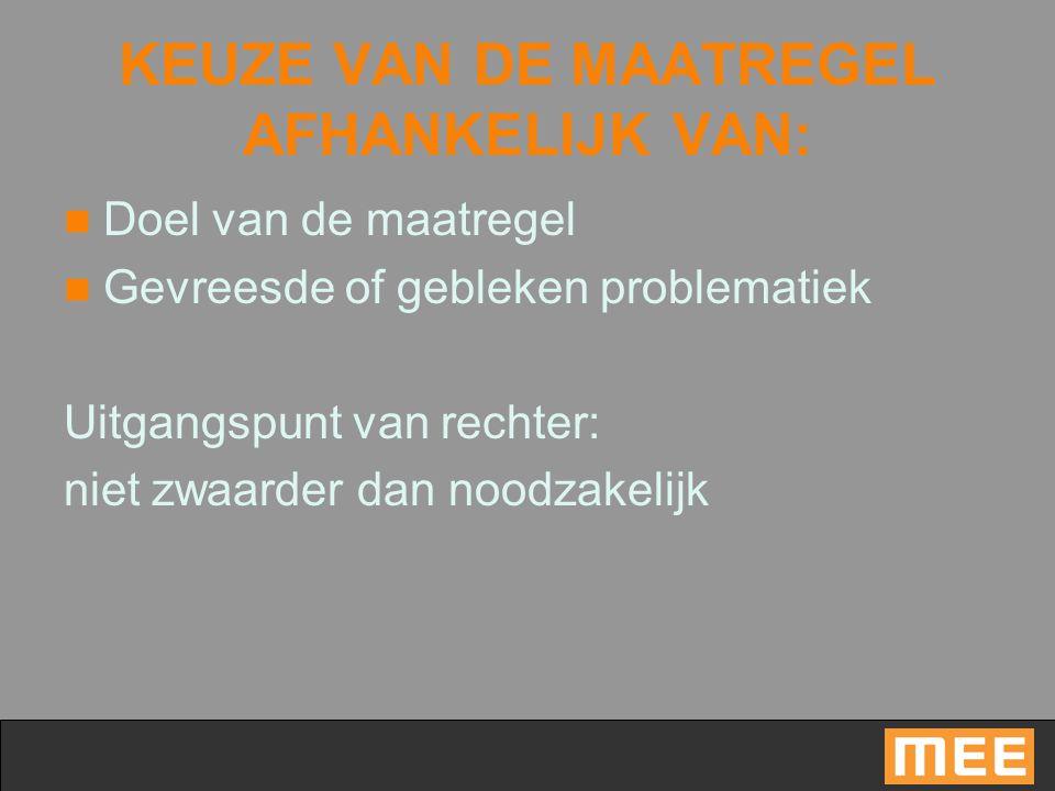 KEUZE VAN DE MAATREGEL AFHANKELIJK VAN: