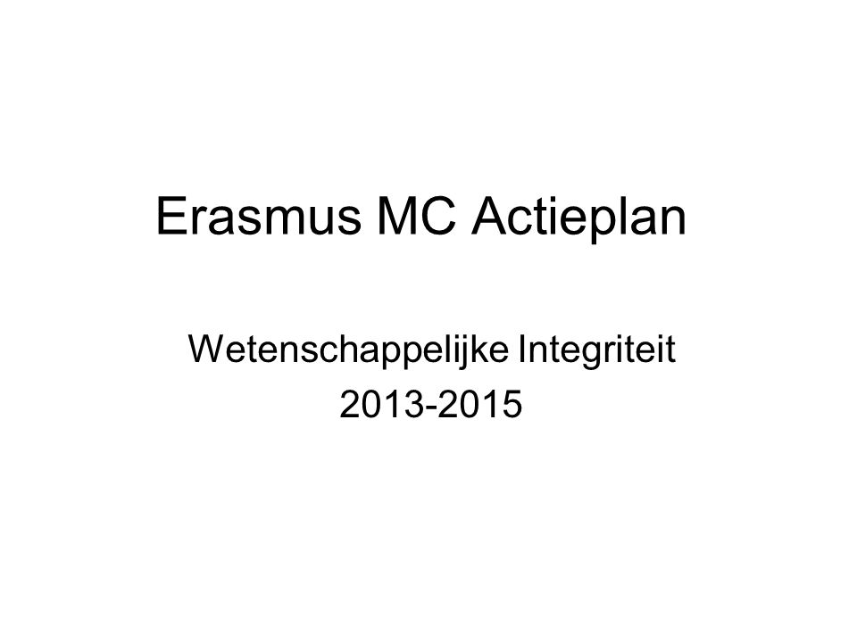 Wetenschappelijke Integriteit 2013-2015