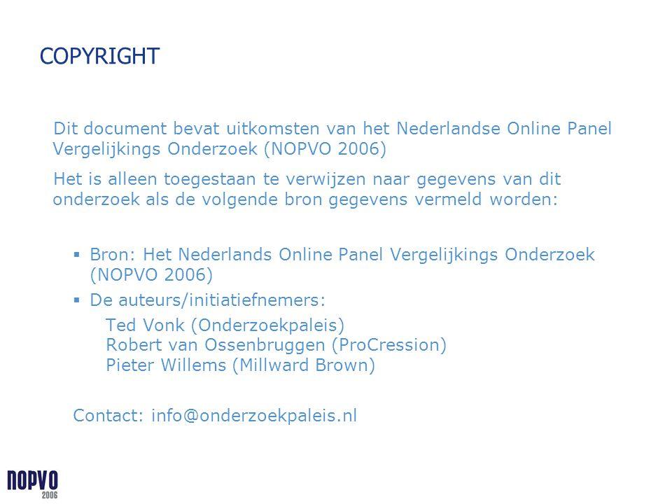 COPYRIGHT Dit document bevat uitkomsten van het Nederlandse Online Panel Vergelijkings Onderzoek (NOPVO 2006)