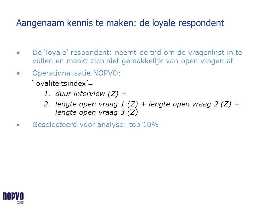 Aangenaam kennis te maken: de loyale respondent