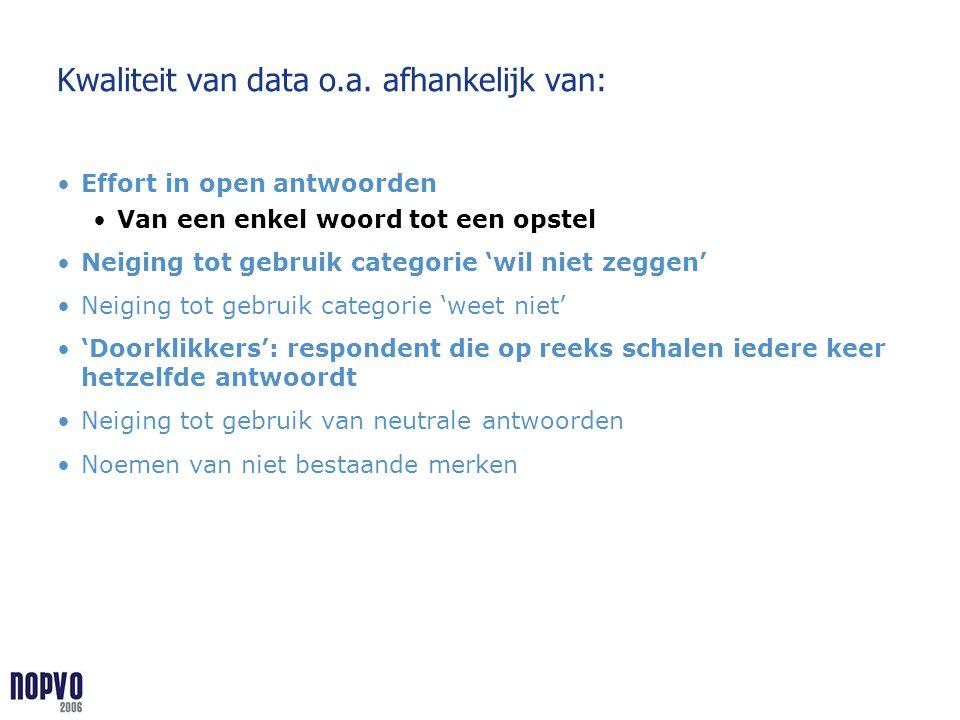 Kwaliteit van data o.a. afhankelijk van: