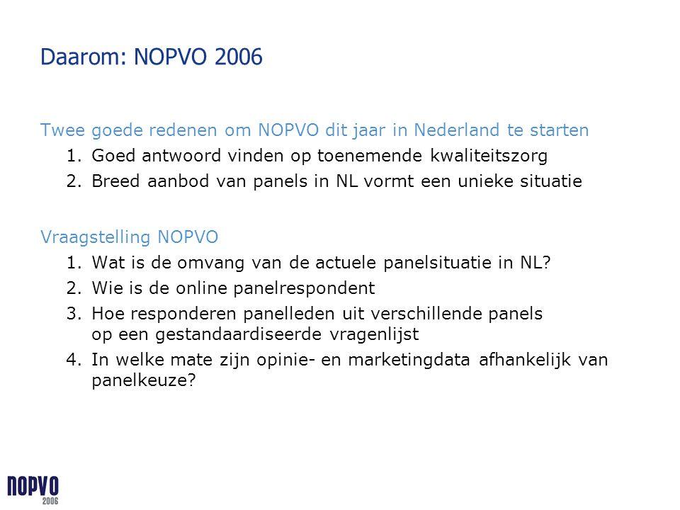 Daarom: NOPVO 2006 Twee goede redenen om NOPVO dit jaar in Nederland te starten. Goed antwoord vinden op toenemende kwaliteitszorg.