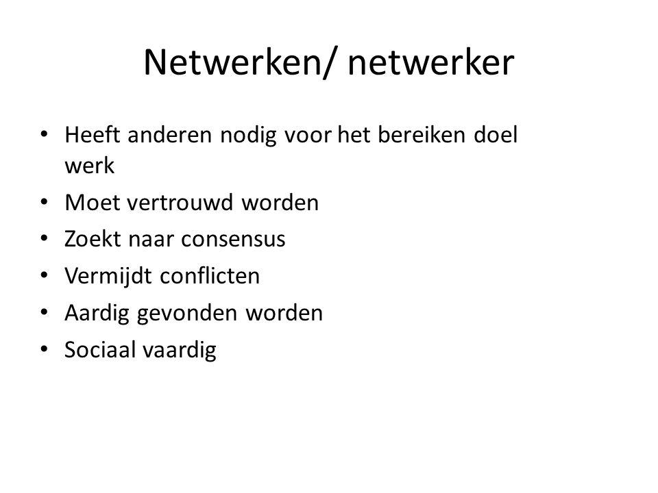 Netwerken/ netwerker Heeft anderen nodig voor het bereiken doel werk