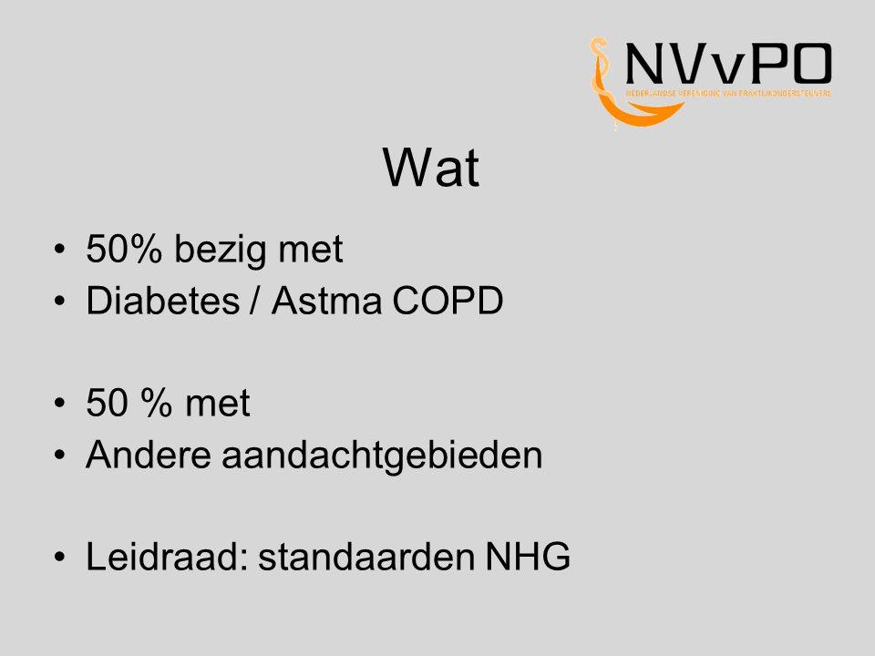 Wat 50% bezig met Diabetes / Astma COPD 50 % met