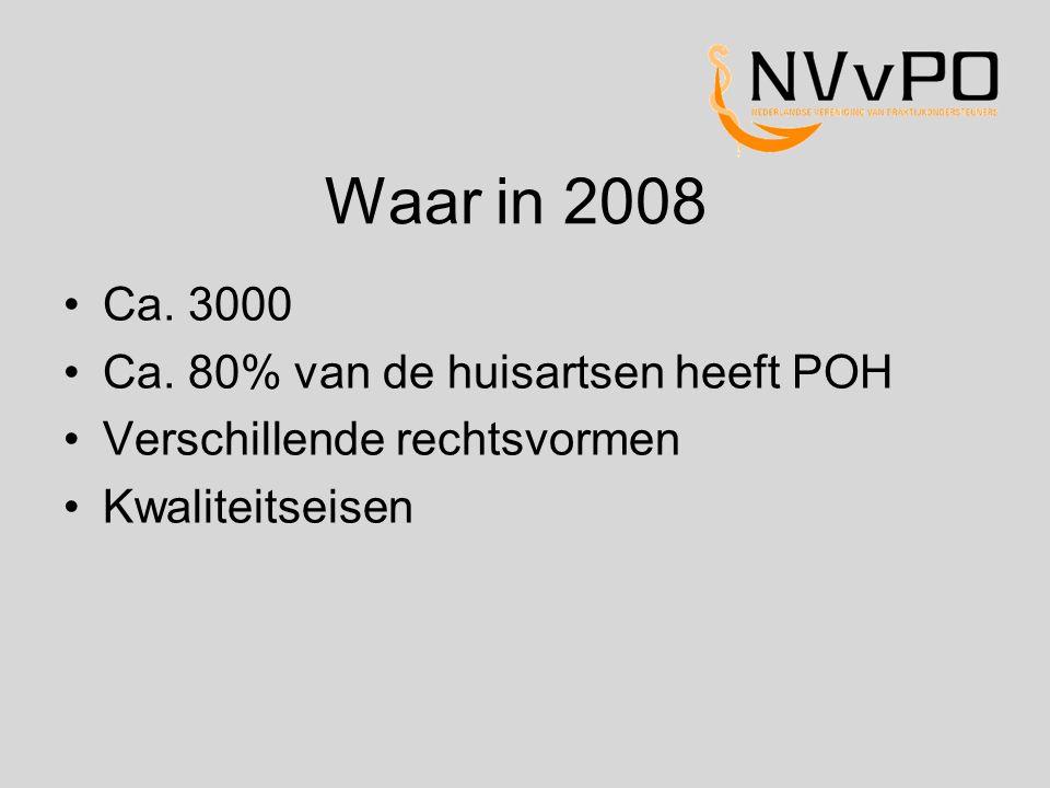 Waar in 2008 Ca. 3000 Ca. 80% van de huisartsen heeft POH