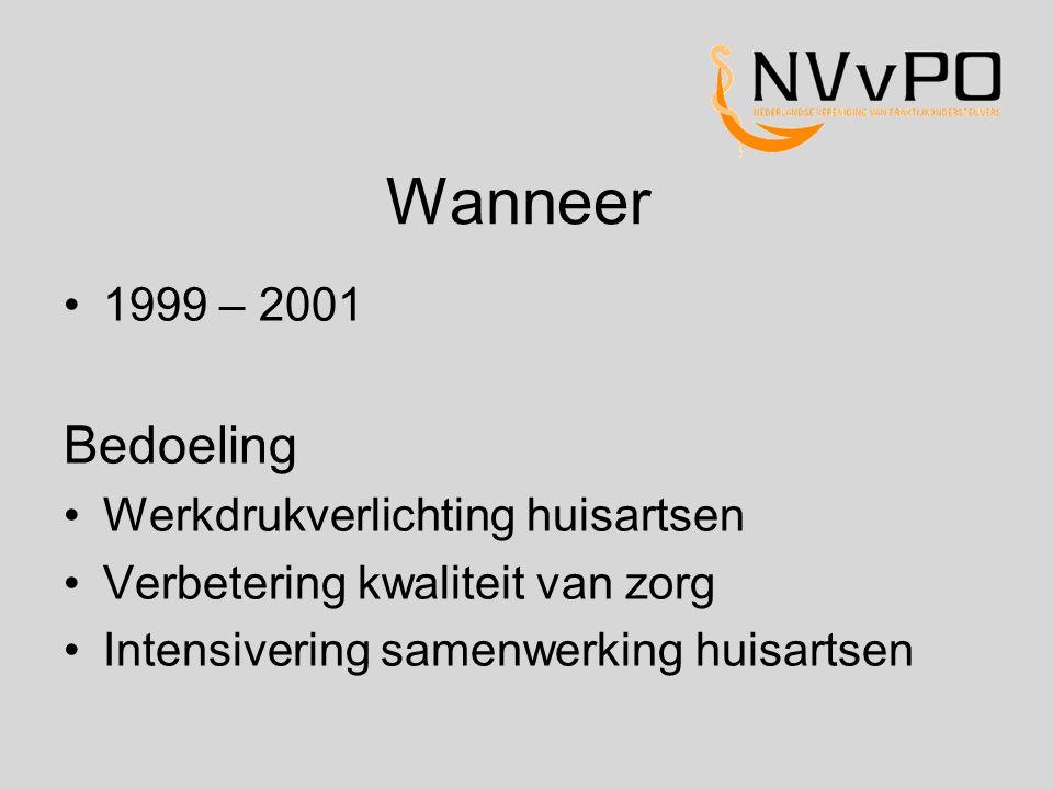 Wanneer Bedoeling 1999 – 2001 Werkdrukverlichting huisartsen
