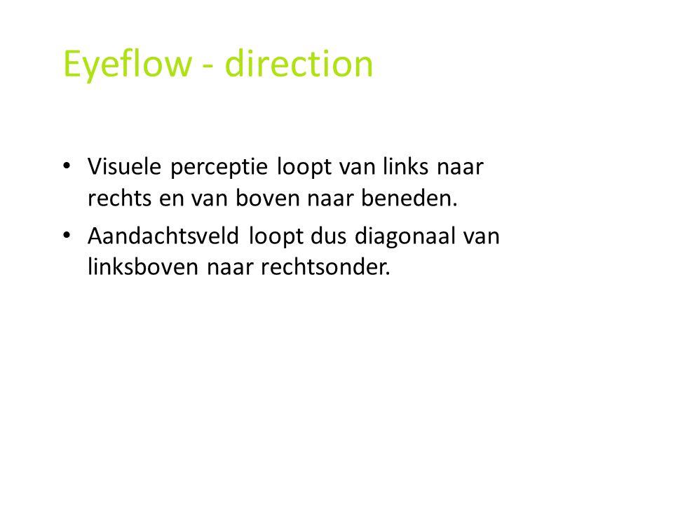 Eyeflow - direction Visuele perceptie loopt van links naar rechts en van boven naar beneden.