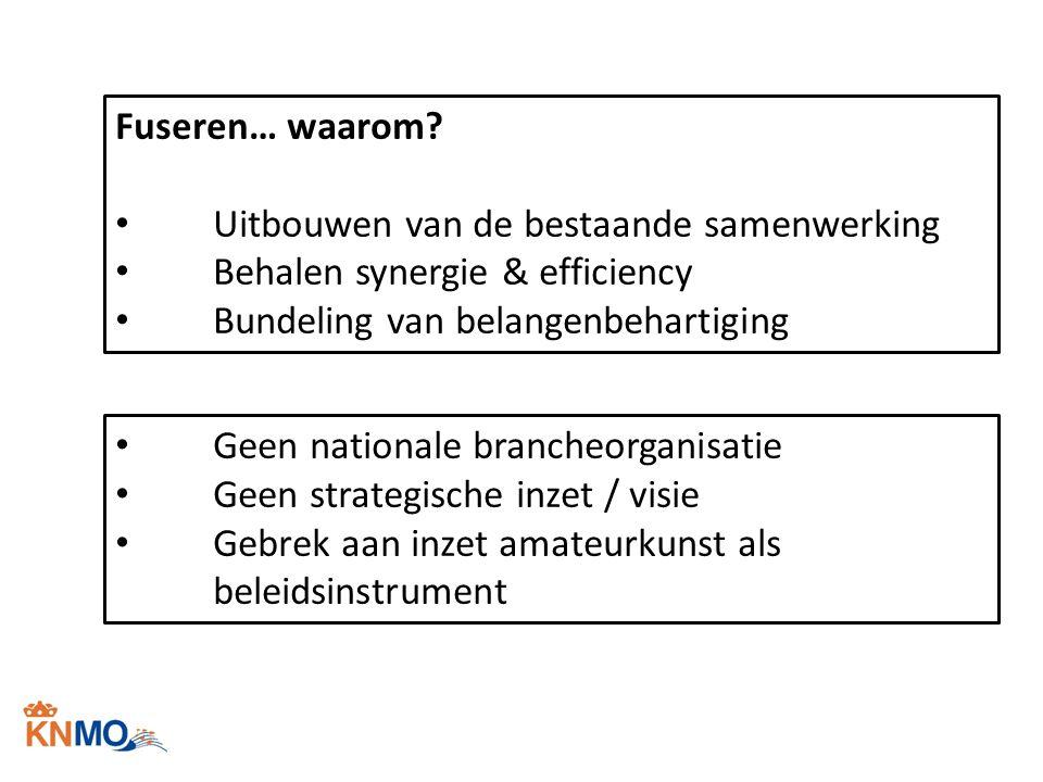 Fuseren… waarom Uitbouwen van de bestaande samenwerking. Behalen synergie & efficiency. Bundeling van belangenbehartiging.