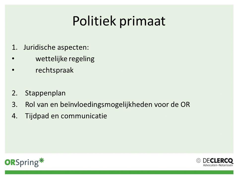 Politiek primaat Juridische aspecten: wettelijke regeling rechtspraak