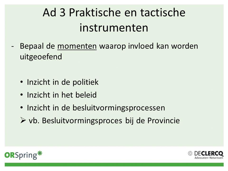 Ad 3 Praktische en tactische instrumenten