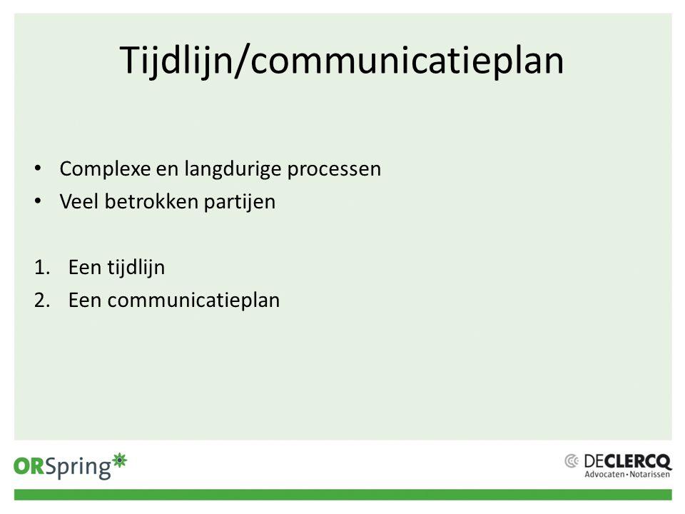 Tijdlijn/communicatieplan
