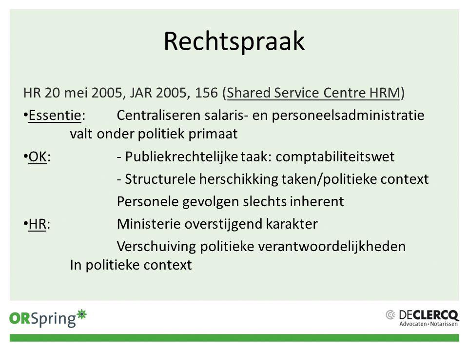 Rechtspraak HR 20 mei 2005, JAR 2005, 156 (Shared Service Centre HRM)