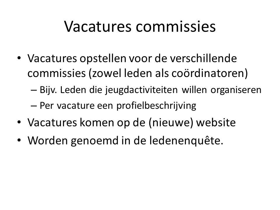 Vacatures commissies Vacatures opstellen voor de verschillende commissies (zowel leden als coördinatoren)
