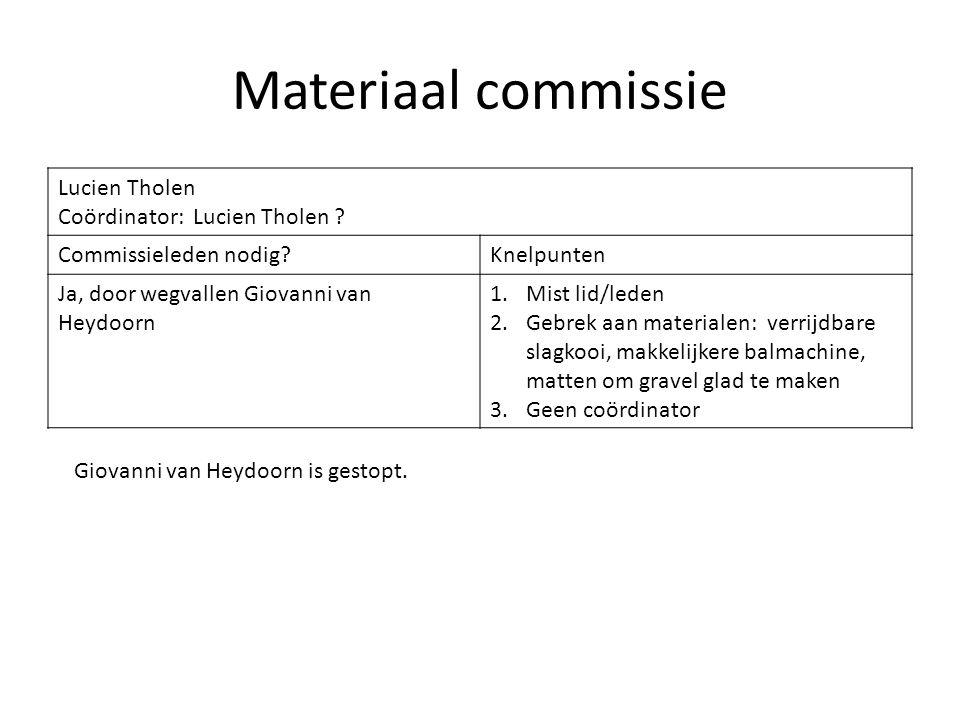 Materiaal commissie Lucien Tholen Coördinator: Lucien Tholen