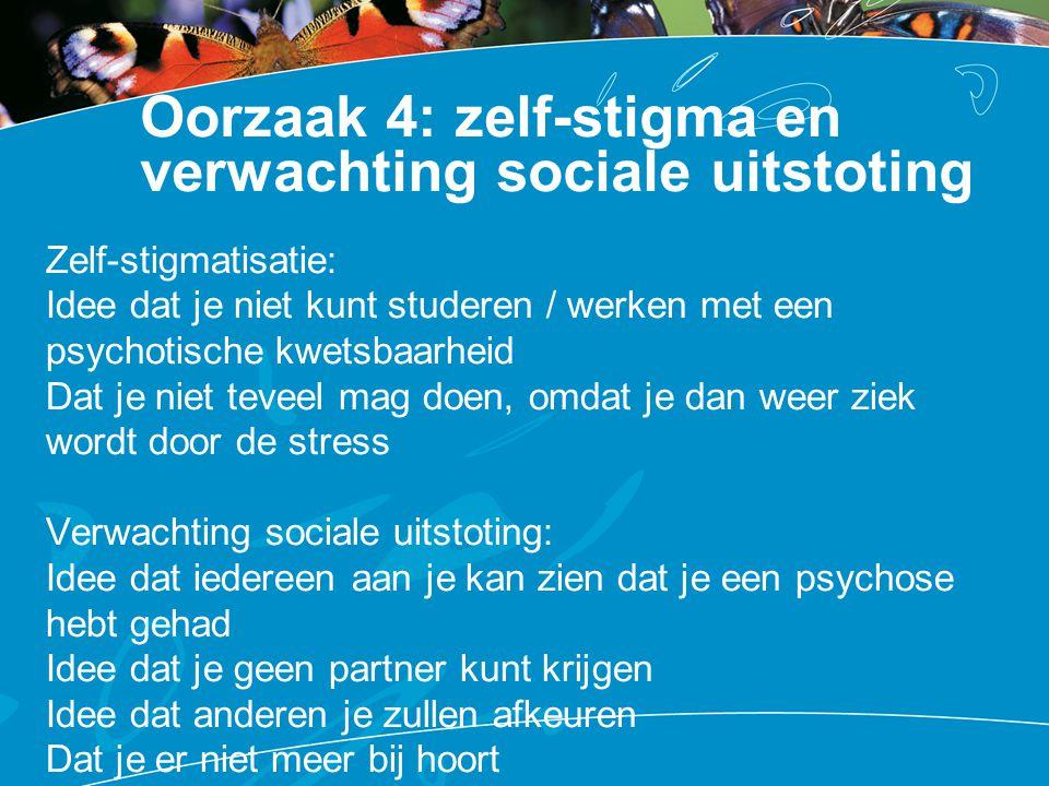 Oorzaak 4: zelf-stigma en verwachting sociale uitstoting