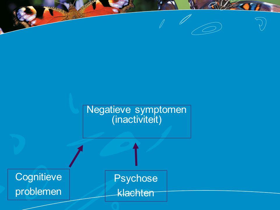 Negatieve symptomen (inactiviteit) Cognitieve problemen Psychose klachten