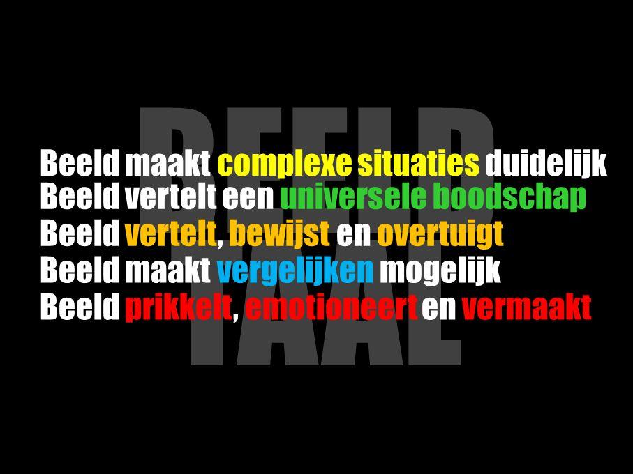 BEELD TAAL Beeld maakt complexe situaties duidelijk
