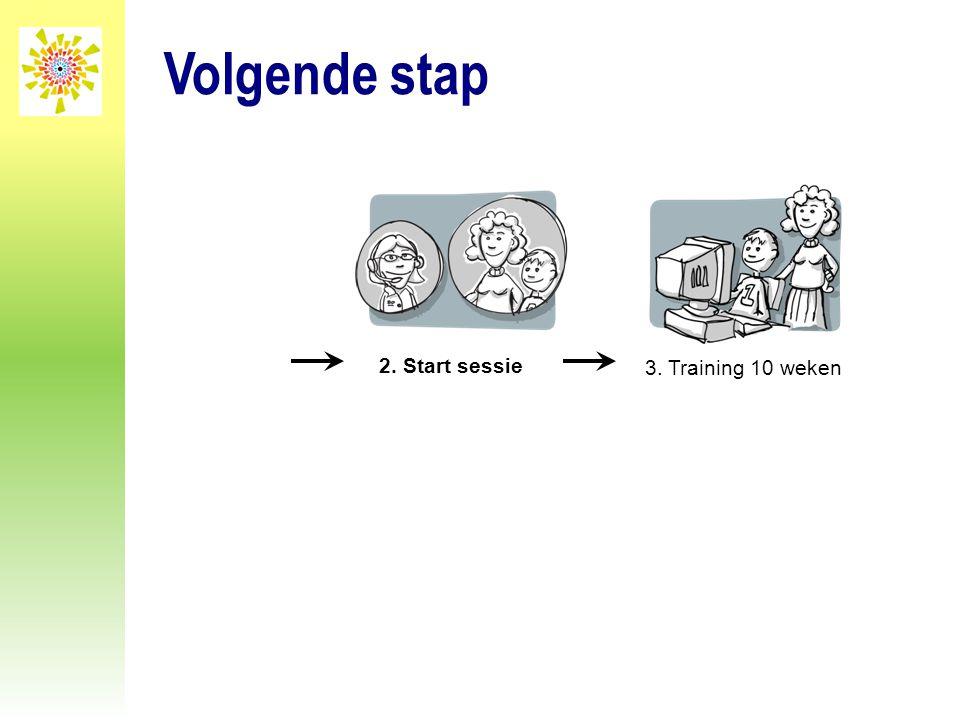 Volgende stap 2. Start sessie 3. Training 10 weken