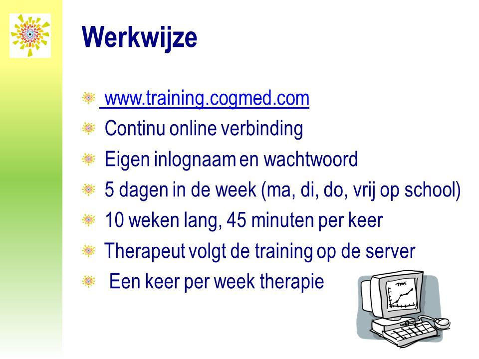 Werkwijze www.training.cogmed.com Continu online verbinding