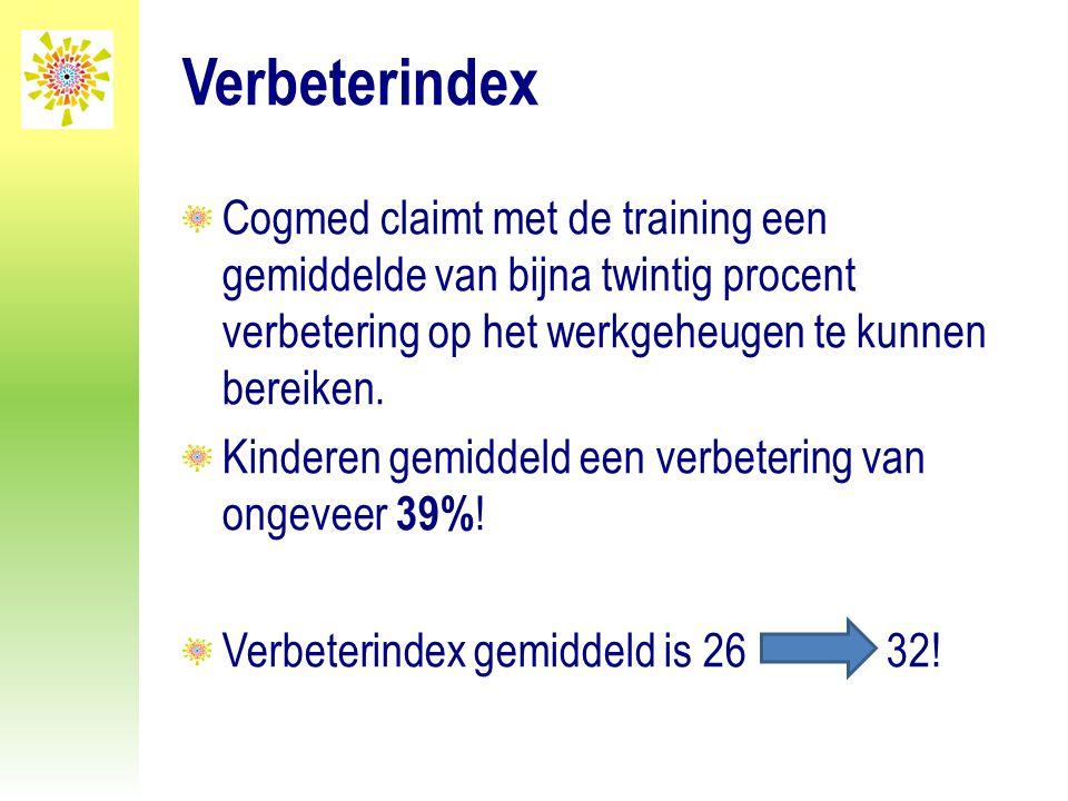 Verbeterindex Cogmed claimt met de training een gemiddelde van bijna twintig procent verbetering op het werkgeheugen te kunnen bereiken.