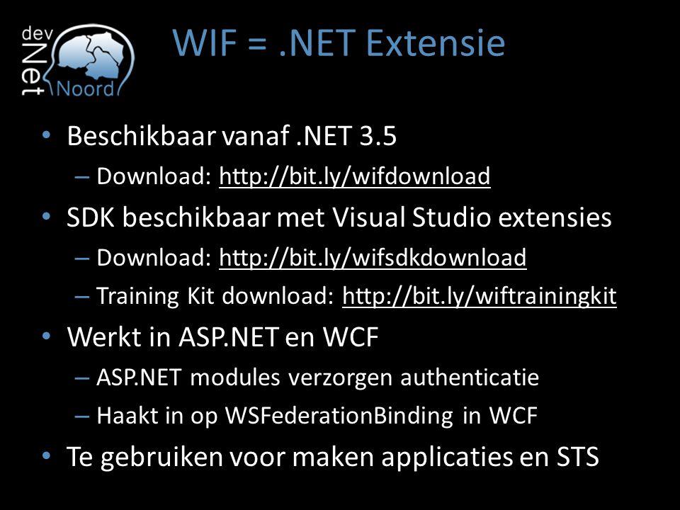 WIF = .NET Extensie Beschikbaar vanaf .NET 3.5