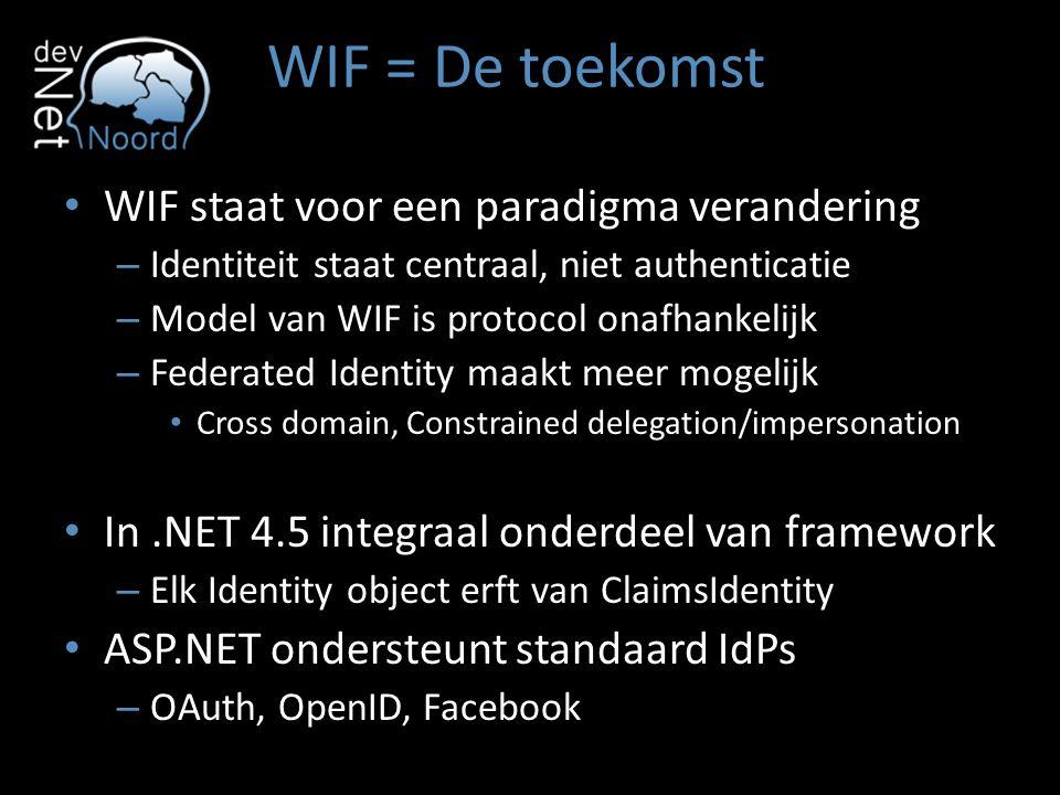 WIF = De toekomst WIF staat voor een paradigma verandering