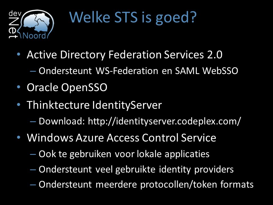 Welke STS is goed Active Directory Federation Services 2.0