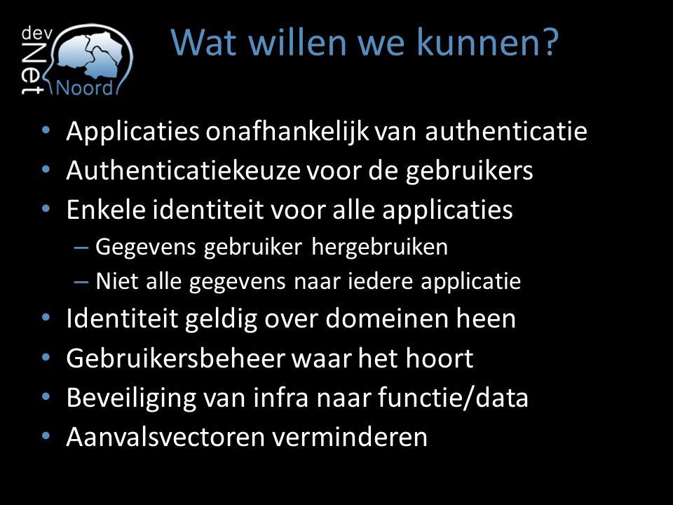 Wat willen we kunnen Applicaties onafhankelijk van authenticatie