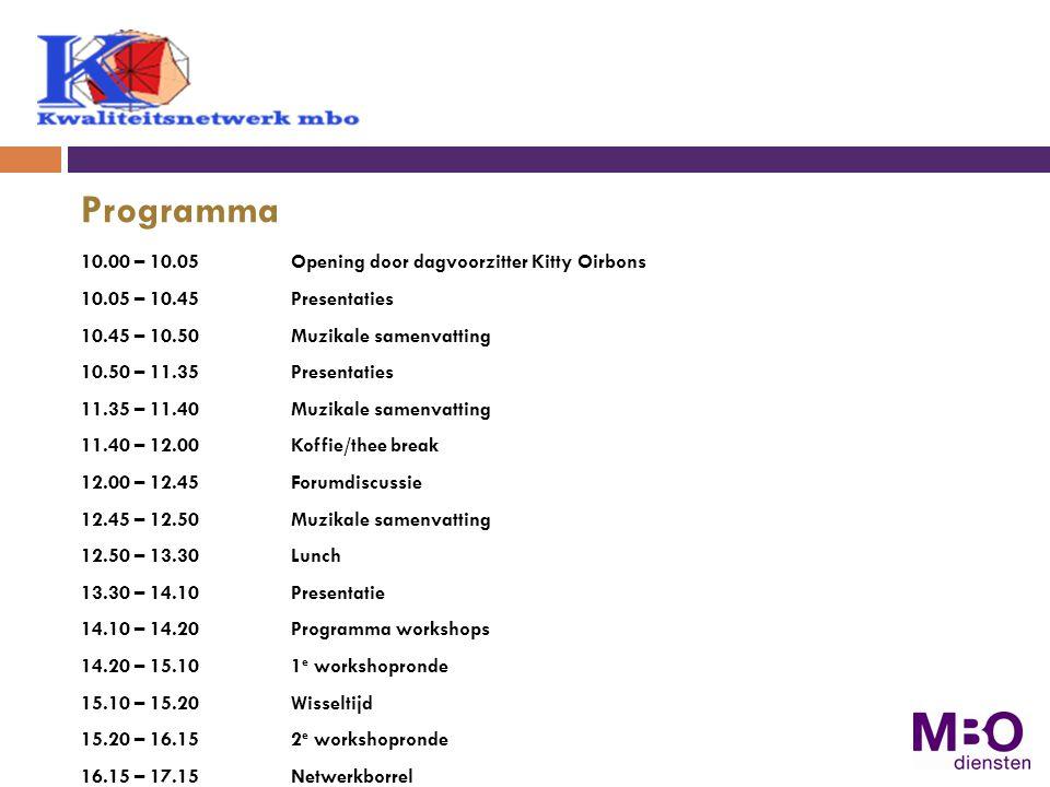 Programma 10.00 – 10.05 Opening door dagvoorzitter Kitty Oirbons
