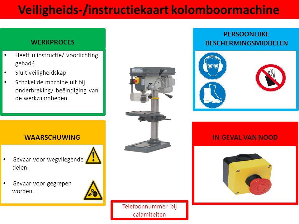 Veiligheids-/instructiekaart kolomboormachine