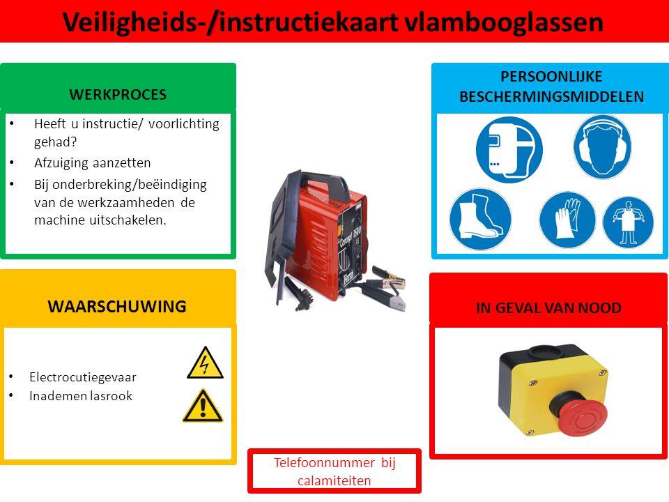 Veiligheids-/instructiekaart vlambooglassen