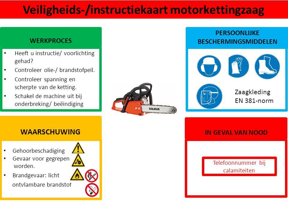 Veiligheids-/instructiekaart motorkettingzaag