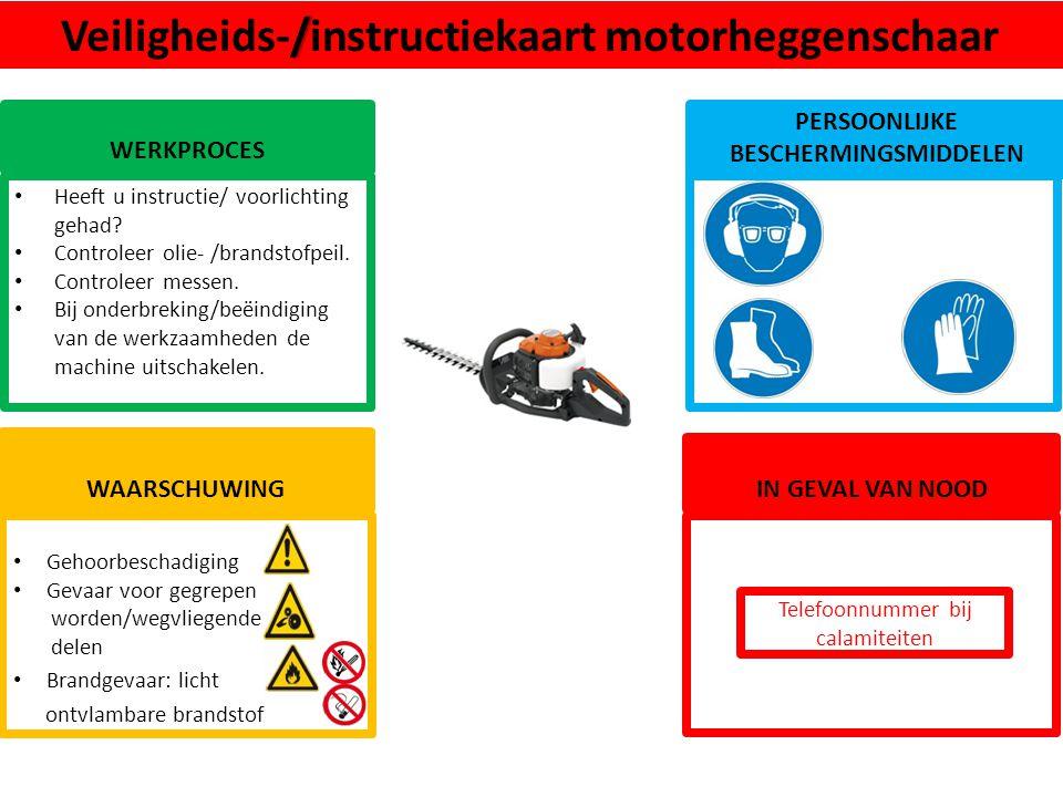 Veiligheids-/instructiekaart motorheggenschaar