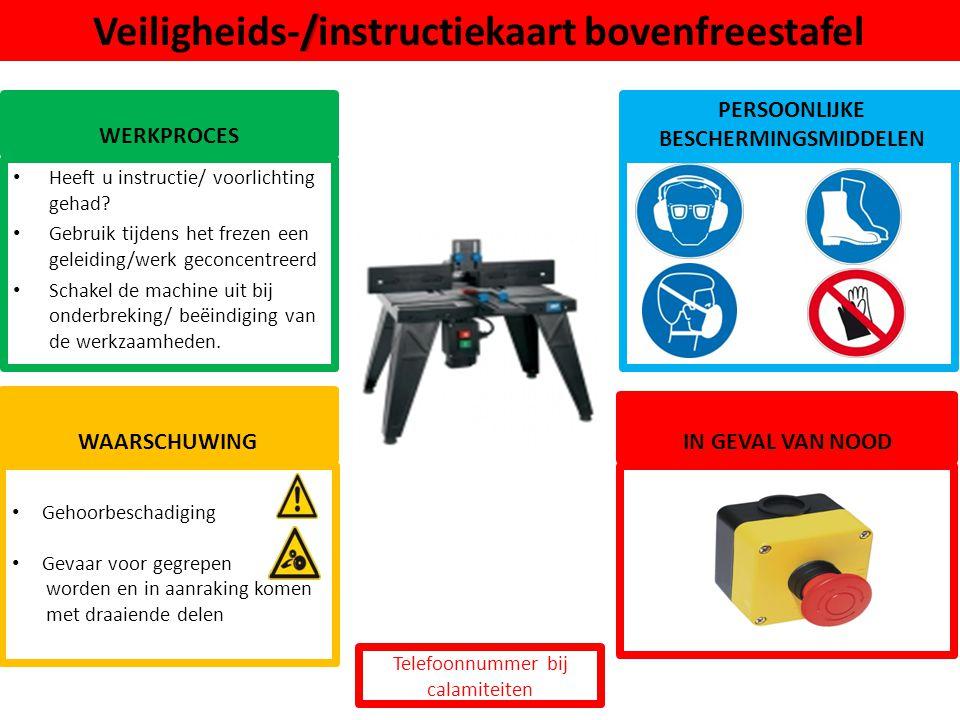 Veiligheids-/instructiekaart bovenfreestafel