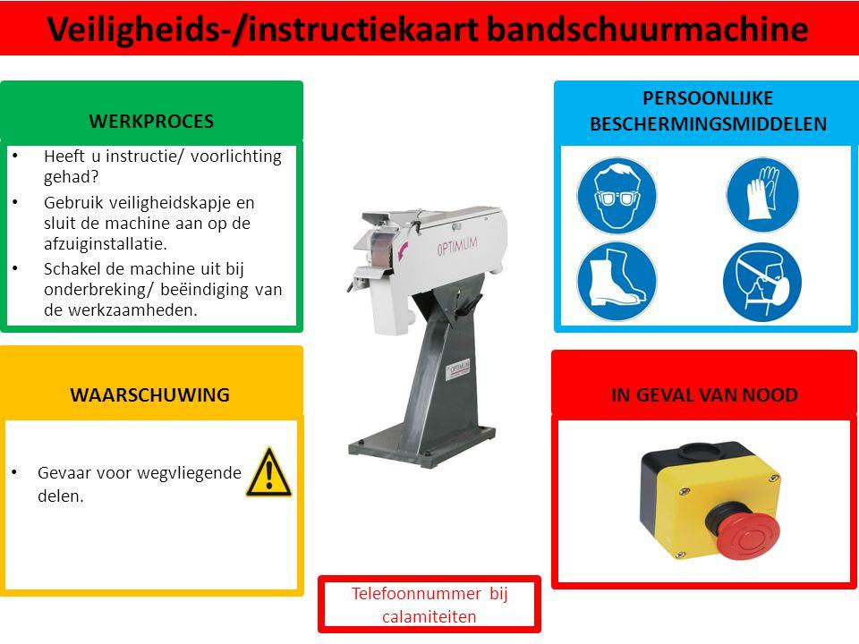 Veiligheids-/instructiekaart bandschuurmachine