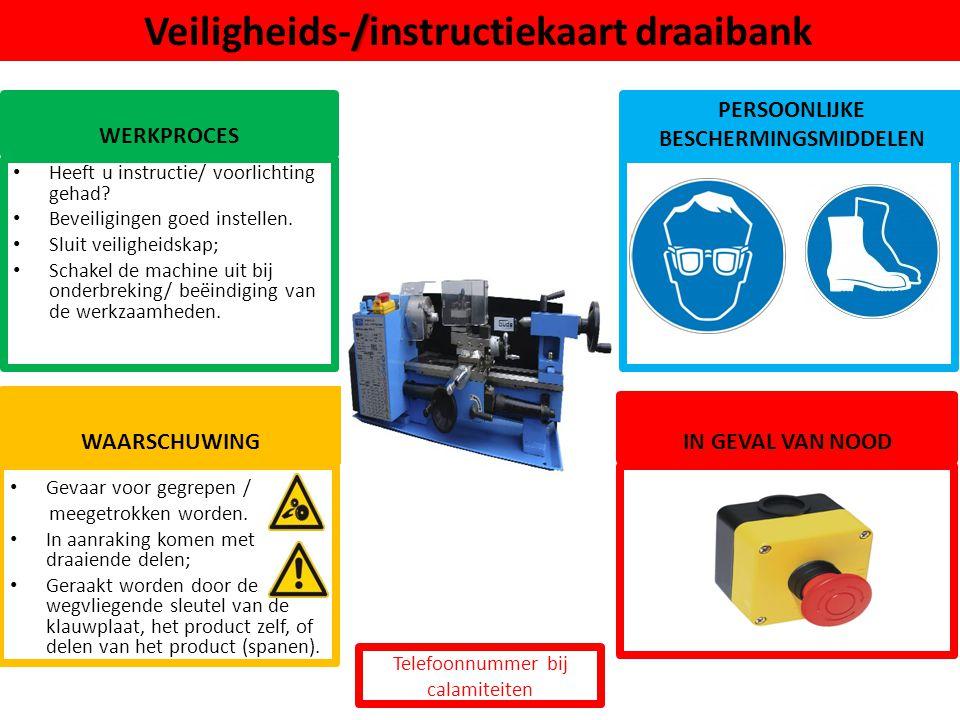 Veiligheids-/instructiekaart draaibank