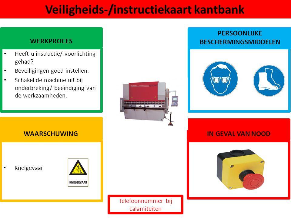 Veiligheids-/instructiekaart kantbank