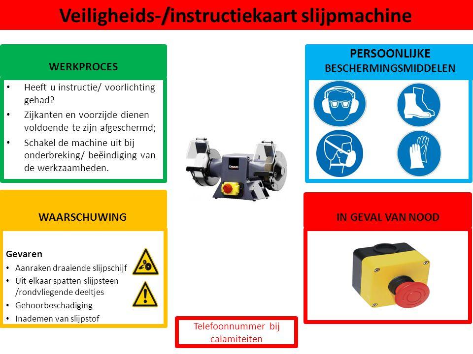 Veiligheids-/instructiekaart slijpmachine
