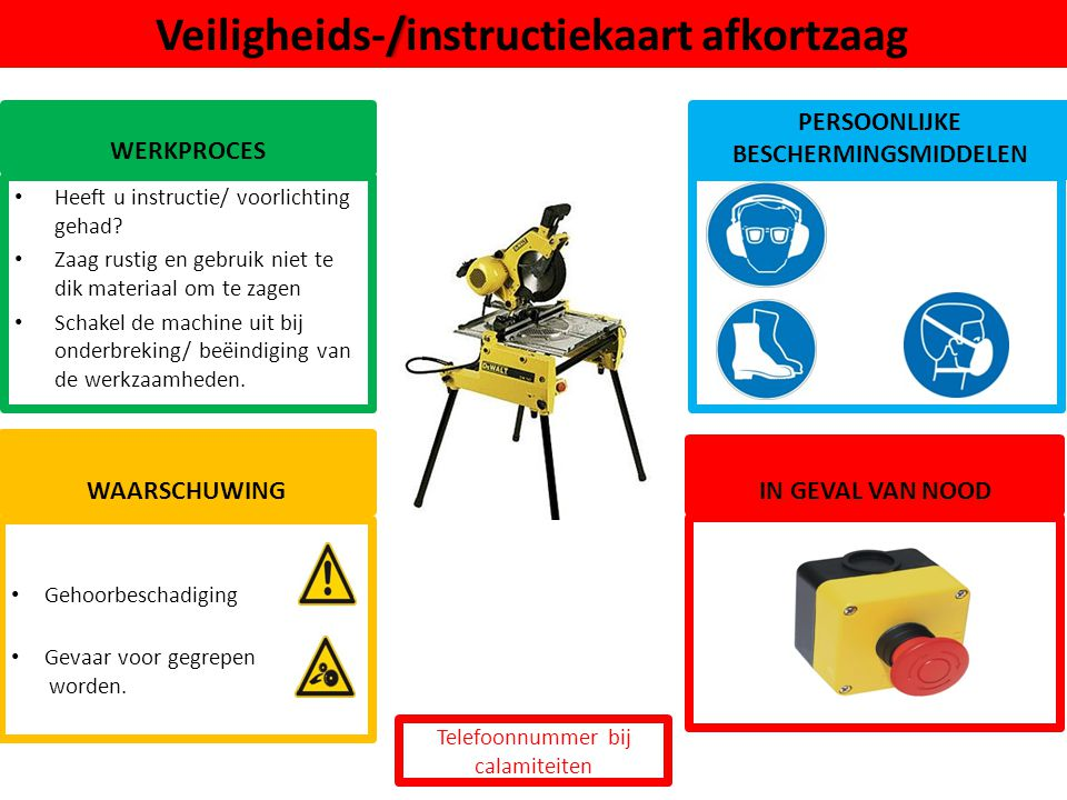 Veiligheids-/instructiekaart afkortzaag