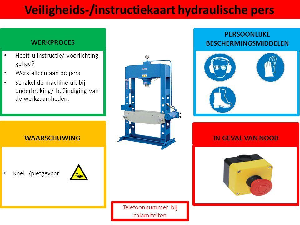 Veiligheids-/instructiekaart hydraulische pers
