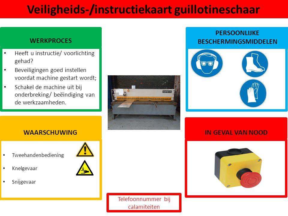 Veiligheids-/instructiekaart guillotineschaar