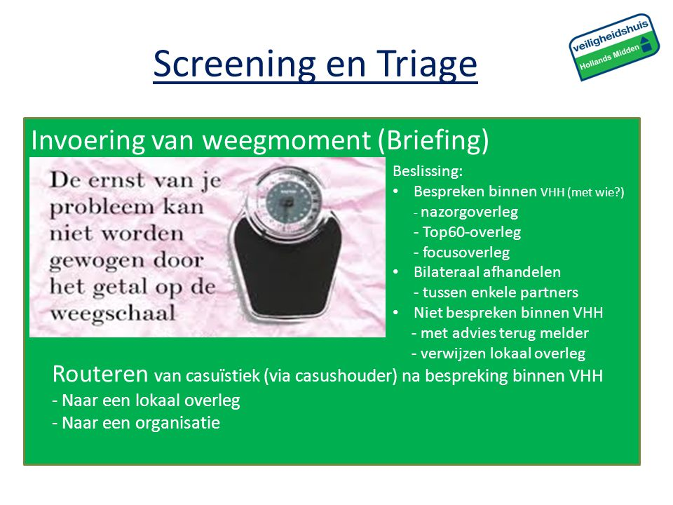 Screening en Triage Invoering van weegmoment (Briefing)