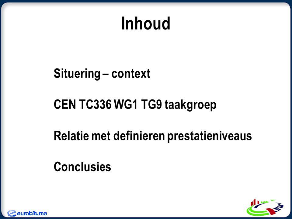 Inhoud Situering – context CEN TC336 WG1 TG9 taakgroep