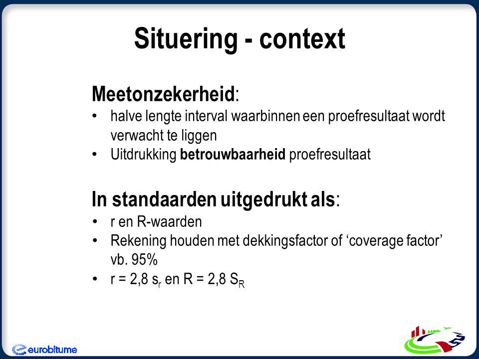 Situering - context Meetonzekerheid: In standaarden uitgedrukt als:
