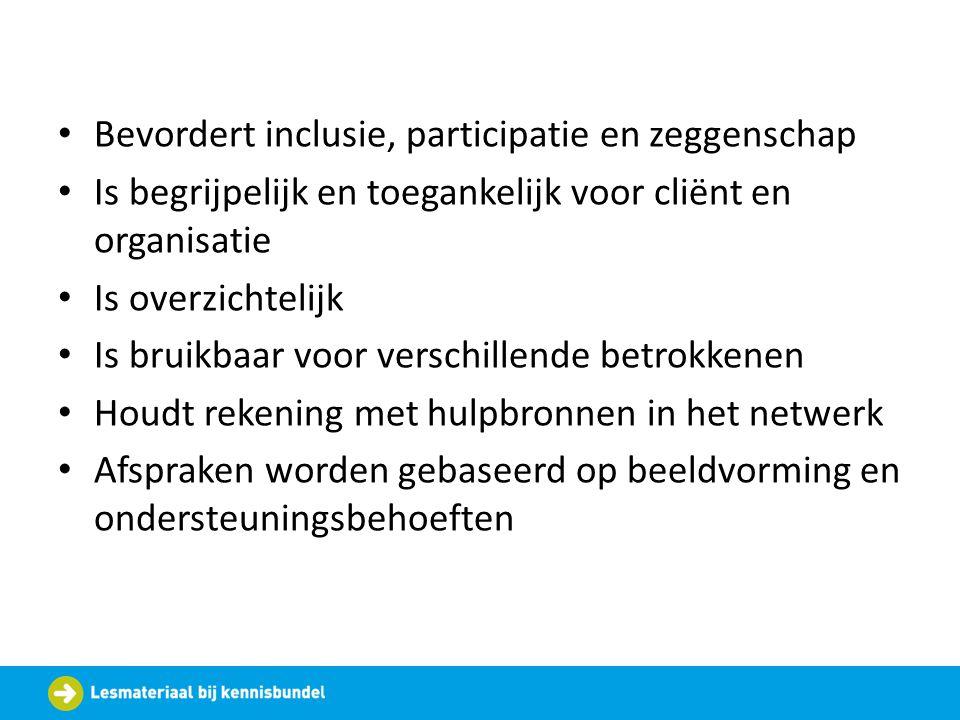 Bevordert inclusie, participatie en zeggenschap