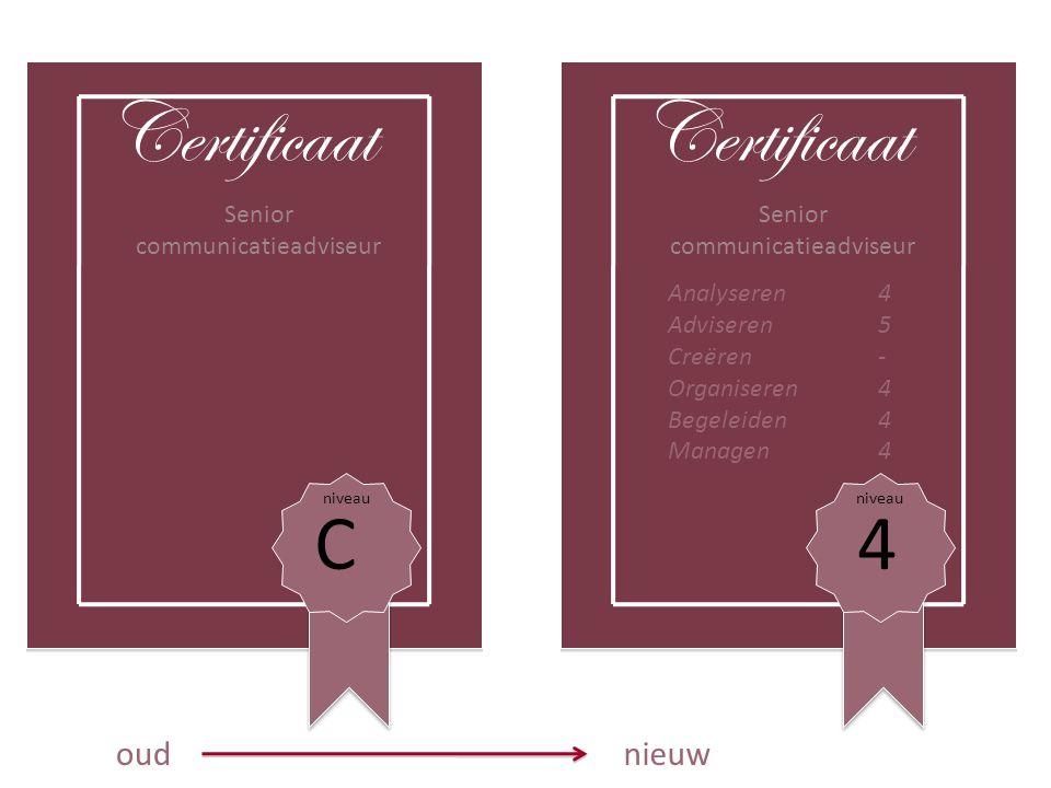 Certificaat Certificaat C 4 oud nieuw Senior communicatieadviseur