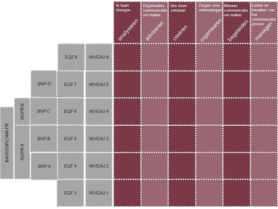 analyseren adviseren organiseren begeleiden managen creëren EQF 8