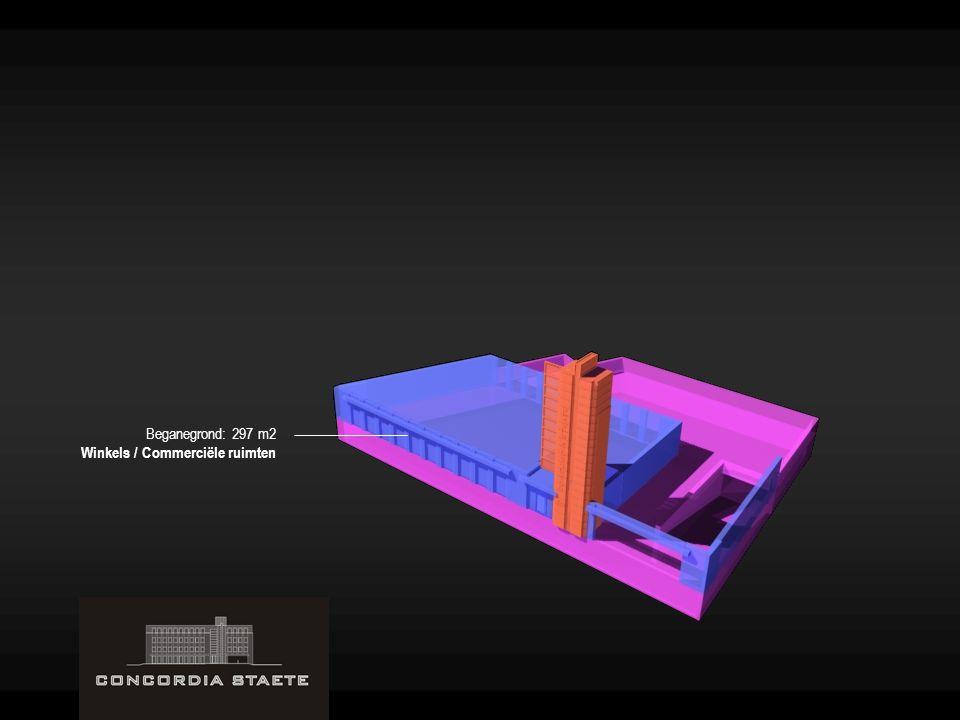 Beganegrond: 297 m2 Winkels / Commerciële ruimten